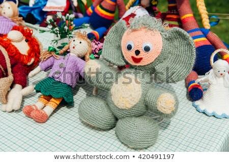 Gebreid speelgoed groot oren dier gezicht Stockfoto © ruslanshramko