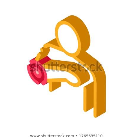 Szívfájdalom izometrikus ikon vektor felirat szín Stock fotó © pikepicture