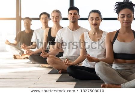 ázsiai sportos emberek gyakorol jóga osztály Stock fotó © vichie81