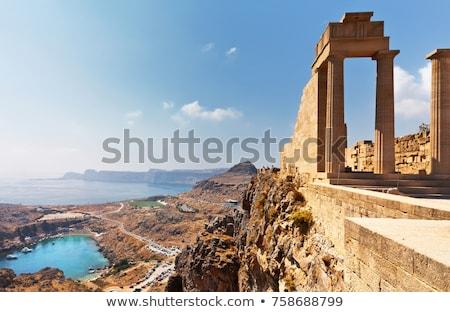 Fellegvár ősi romok sziget Görögország fal Stock fotó © angelp