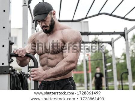красивый мышечный человека изолированный черный тело Сток-фото © GekaSkr