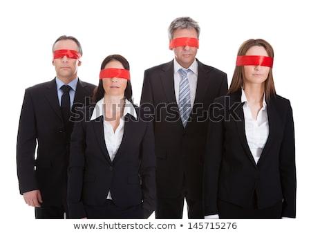 con · los · ojos · vendados · empresario · blanco · defensa · artes · marciales · oficina - foto stock © lunamarina