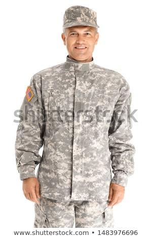 Soldat isolé blanche homme fusil guerre Photo stock © Elnur