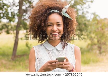 Mutlu genç kadın telefon genç güzel Stok fotoğraf © jeliva