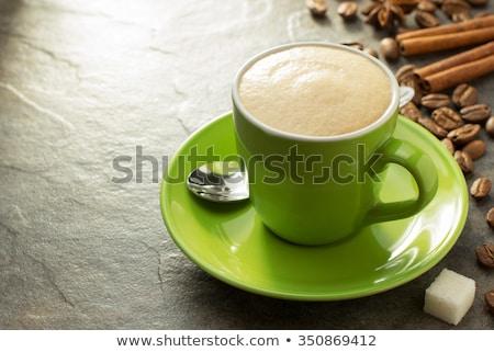 green mug in coffee shop stock photo © punsayaporn