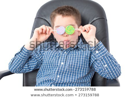 Funny Boy with Lollipops Over his Two Eyes Stock photo © ozgur