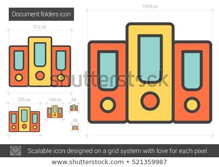 Row of folders line icon. Stock photo © RAStudio
