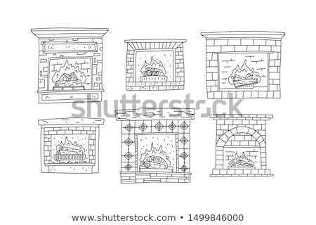 Palenie płomienie ognia cegły kamienie ognisko Zdjęcia stock © LoopAll