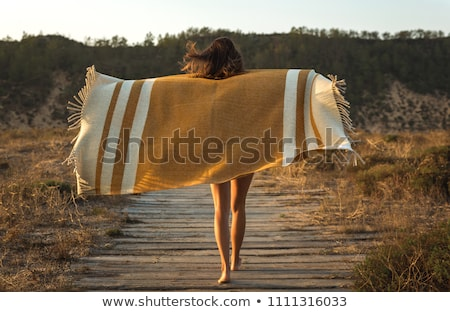 Woman on beach wrapped in blanket Stock photo © IS2