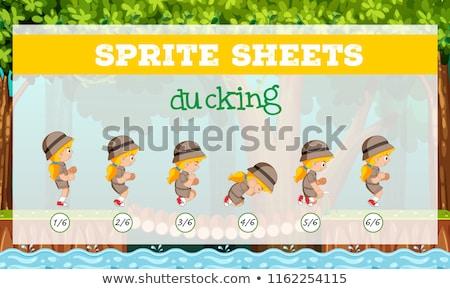 Girl ducking sprite sheet Stock photo © bluering