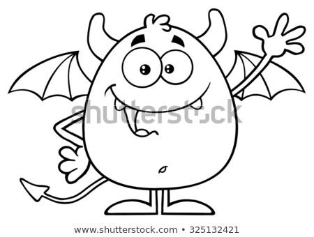 Siyah beyaz mutlu kırmızı şeytan Stok fotoğraf © hittoon