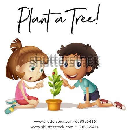 Phrase expression for plant a tree with kids and tree Stock photo © colematt