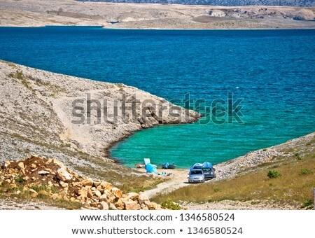 Zadar area small beach in stone desert scenery near Zecevo islan Stock photo © xbrchx