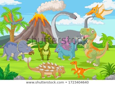 Set of dinosaur scenes stock photo © colematt