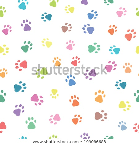 repeated dog or cat paw print pattern set Stock photo © SArts