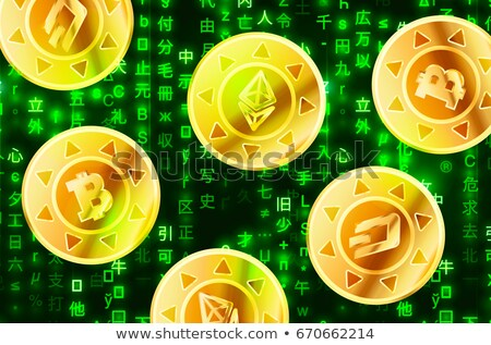 Glossy golden coins with bitcoin, ethereum and dashcoin signs on green matrix binary code, cryptocur Stock photo © evgeny89
