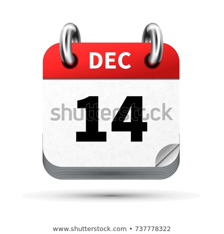 Luminoso realistico icona calendario 14 dicembre Foto d'archivio © evgeny89