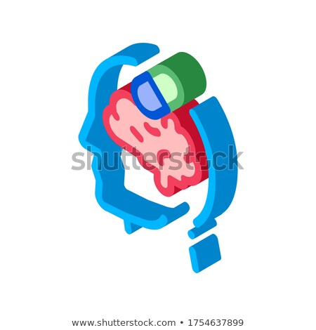 Tabletták drogok férfi sziluett fejfájás izometrikus Stock fotó © pikepicture