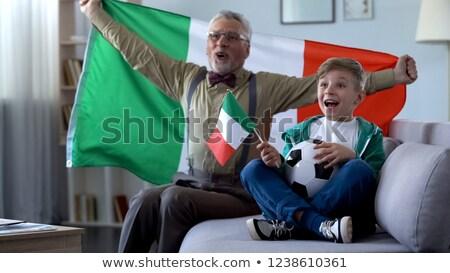 Opa kleinzoon kijken voetbal sport wedstrijd Stockfoto © AndreyPopov