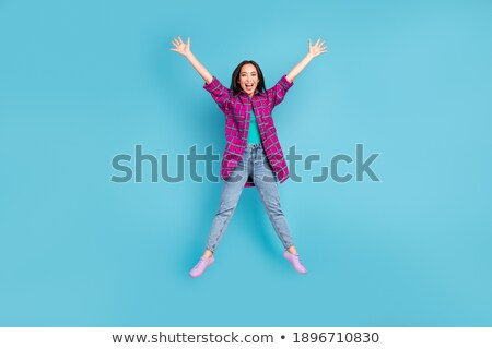 girl in plaid jeans with open by fly stock photo © ruslanomega