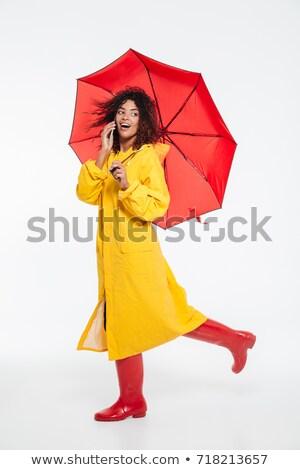 Belo mulher jovem capa de chuva guarda-chuva retrato beautiful girl Foto stock © elenaphoto