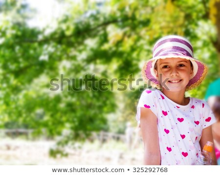 Trendy pretty little girl in a summer outfit Stock photo © ozgur