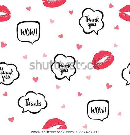 girl lipstick kiss doodle background pattern stock photo © cienpies