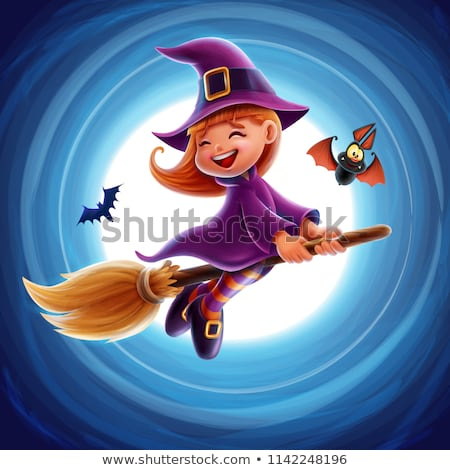 Kind heks banner cartoon illustratie meisje Stockfoto © cthoman