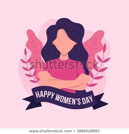 Nőnap poszter lány arc virág nők Stock fotó © SArts