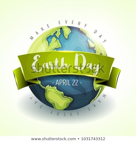 Dia da terra ilustração cartaz papel mundo terra Foto stock © colematt