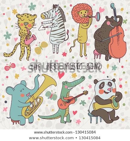 desenho · animado · elefante · jogar · guitarra · ilustração · engraçado - foto stock © bennerdesign