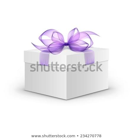 Branco caixa de presente violeta fita lavanda buquê Foto stock © Illia