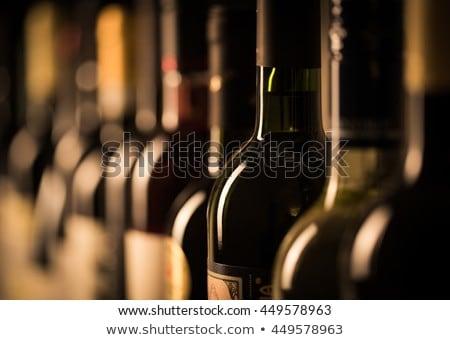 Klasszikus borosüveg fa asztal felső kilátás űr Stock fotó © karandaev