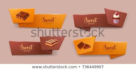 セット 水平な バナー チョコレート eps 10 ストックフォト © netkov1