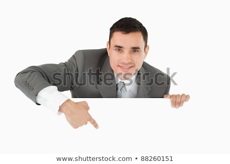 Happy Manager Pointing To A White Board. Stock photo © hittoon