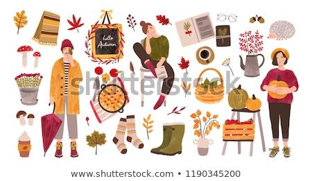 Farmers set Vector flat style. Autumn fall season agriculture brochure templates Stock photo © frimufilms