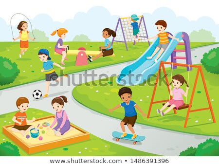 Education in School, Kindergarten Kids on Lawn Stock photo © robuart