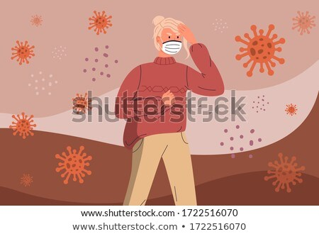 Woman in medical mask infected by virus, have headache, flying virus around, crossed out stop sign Stock photo © robuart