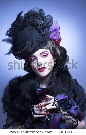 Portrait of a woman in retro costume, with wine Stock photo © pxhidalgo