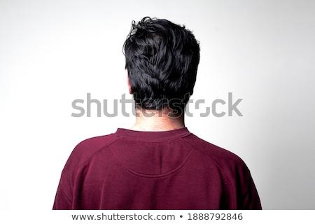 teljes · alakos · üzletember · szemben · fal · hátsó · nézet · áll - stock fotó © stockyimages