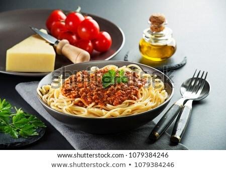Foto d'archivio: Piatto · spaghetti · pomodoro · carne · di · maiale · salsa