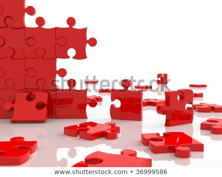 Red puzzle assembly over white Stock photo © hitdelight