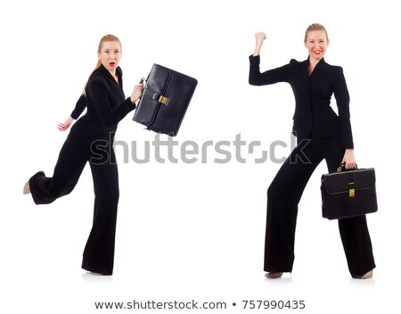 pretty office manager holding briefcase isolated on white stock photo © elnur