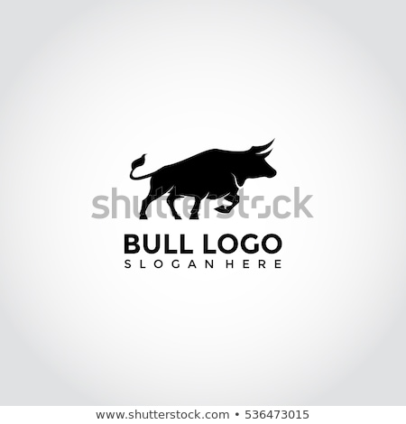 Stock photo: Blue Strong Bull Icon Vector Illustration