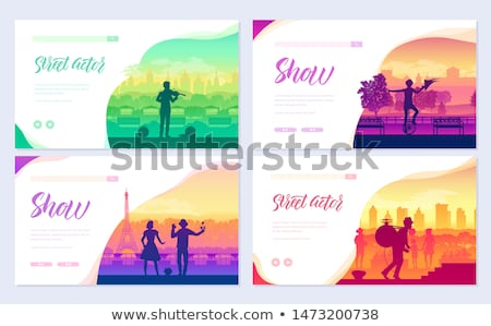 Street artists around the world brochure cards set. Speech on the alleys of the city template of fly Stock photo © Linetale