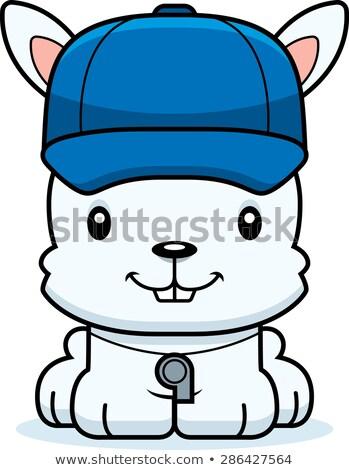 Cartoon souriant coach lapin heureux Photo stock © cthoman