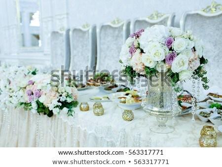 Gyönyörű menyasszonyi virágcsokor asztal tükör virág Stock fotó © ruslanshramko