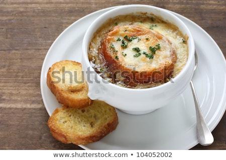 bowl of onion soup stock photo © alex9500