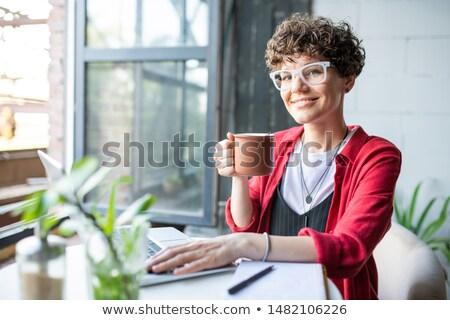 derűs · nő · iszik · kávé · laptopot · használ · kávézó - stock fotó © pressmaster