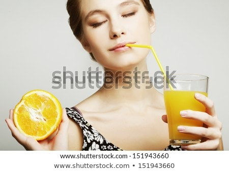Stock fotó: Bájos · boldog · nő · friss · narancslé · áll